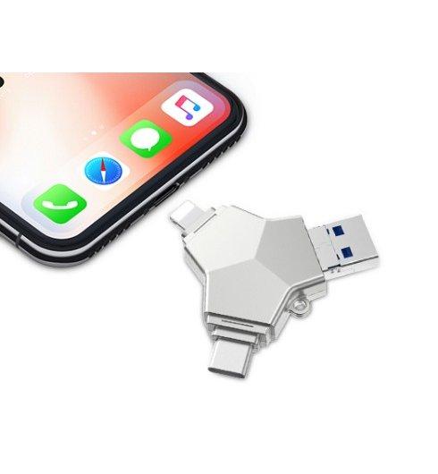4-in-1 Micro-USB/USB-C/8-pin/USB 3.0 Flash Drive (32GB)