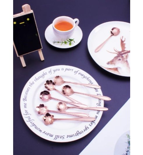 Rose Gold Flower Spoons