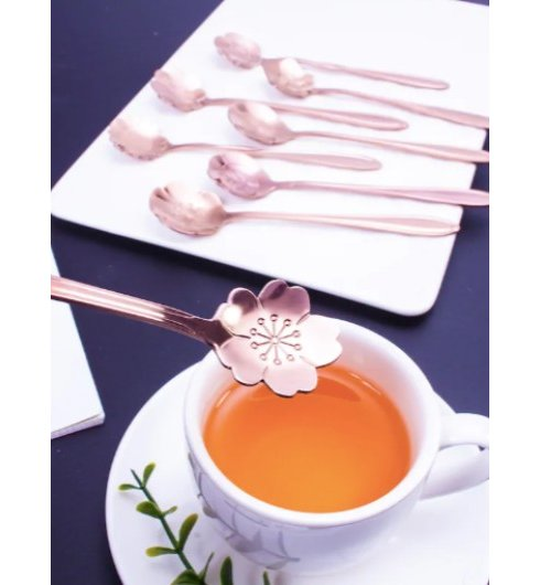 Rose Gold Flower Spoons